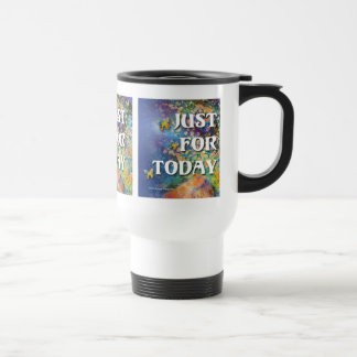 Just for Today Flowers and Rocks 15 Oz Stainless Steel Travel Mug