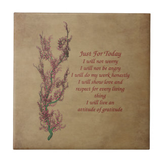 Just For Today Flowers Inspirational Prayer Small Square Tile