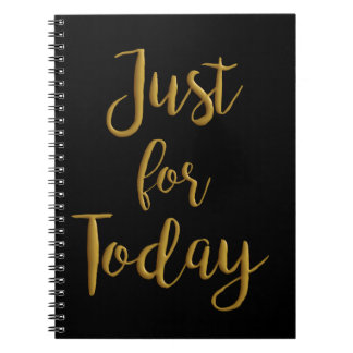 Just For Today gold quote AA NA 12 step recovery Notebook