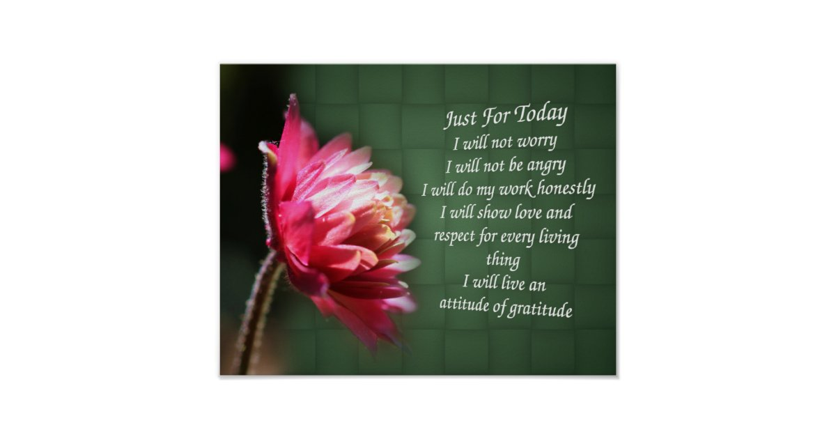 Just For Today Inspirational Prayer Floral Poster Zazzle Com