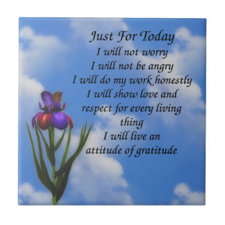 Just For Today Inspirational Prayer Small Square Tile
