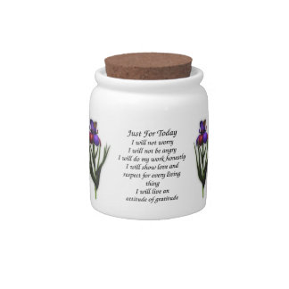 Just For Today Iris Flower Inspirational Candy Dishes