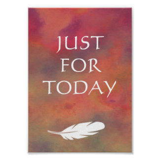 Just For Today Orange Clouds White Feather Print