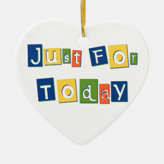 Just for Today Double-Sided Heart Ceramic Christmas Ornament