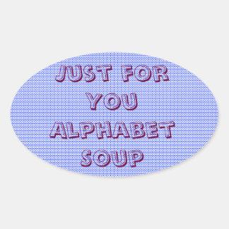 Just for You Alphabet Soup Jar Label Sticker