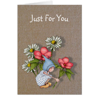 Just For You, Gnome Child with Flowers, Burlap Card