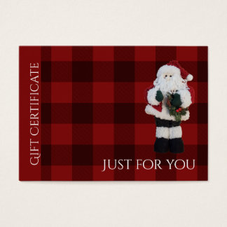 Just For You | Red Plaid Santa Gift Certificate