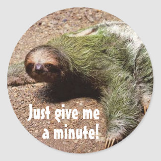 Just give me a minute! classic round sticker