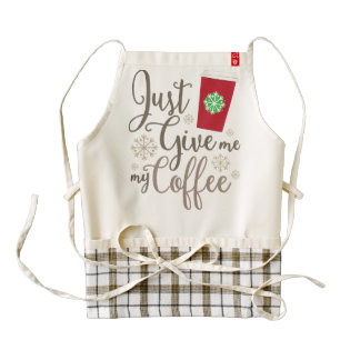 Just Give Me My Coffee w/ Red Cup #ItsJustACup Zazzle HEART Apron