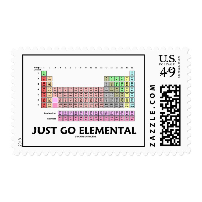 Just go elemental periodic table of elements postage for 1 20 periodic table