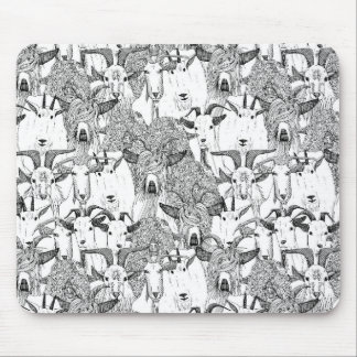 just goats black white mouse pad