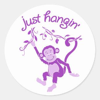 Just hangin monkey purple white sticker