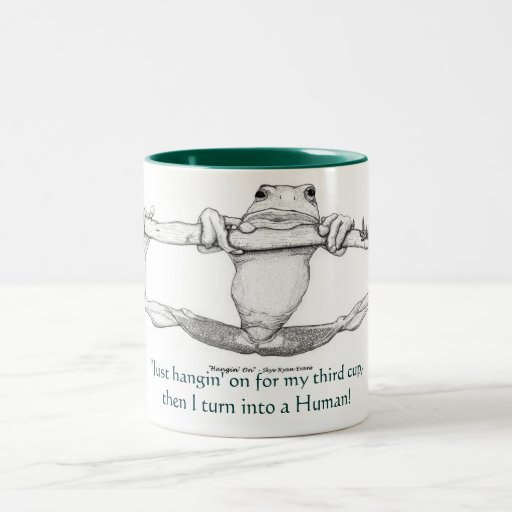"""""""JUST HANGIN' ON"""" GREEN FROG Large & small Mugs"""
