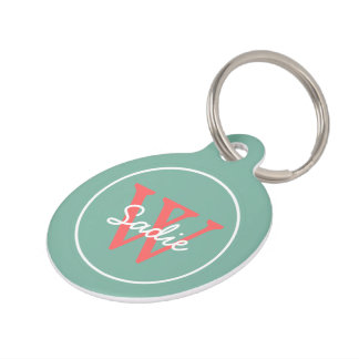 Just Happy Blue and Dark Coral Pink Monogram Pet ID Tag