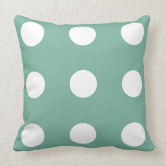 Just Happy Blue and White Polka Dot Reversible Throw Pillow