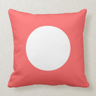 Just Happy Coral and White Polka Dot Reversible Throw Pillow