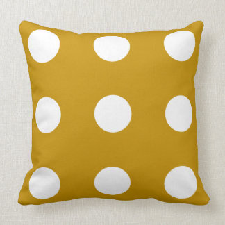 Just Happy Gold and White Polka Dot Reversible Throw Pillow