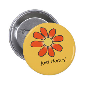 JUST HAPPY Red Graphical Flower Button
