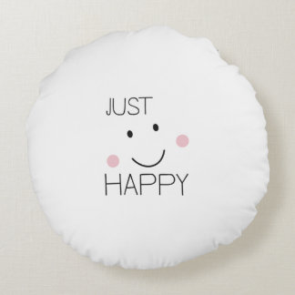 Just Happy Smiley Round Pillow
