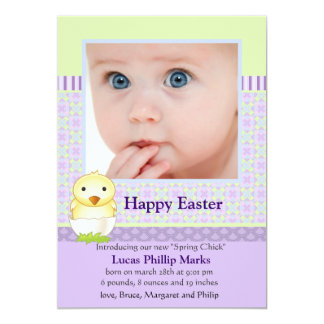 "Just Hatched Photo Easter Card 5"" X 7"" Invitation Card"
