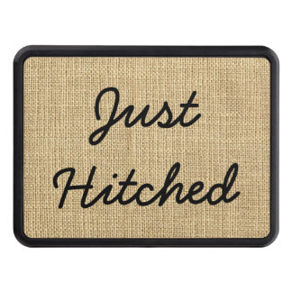 Just Hitched Country Rustic Burlap Black and Brown Trailer Hitch Cover