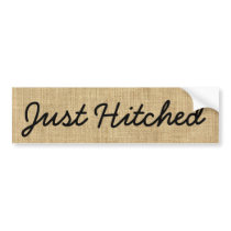 Just Hitched Rustic Burlap Black Letters on Brown Bumper Sticker