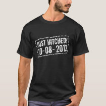 Just hitched t shirts with custom wedding date