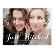Just Hitched Wedding Announcements - White