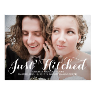 Just Hitched Wedding Announcements - White Postcard