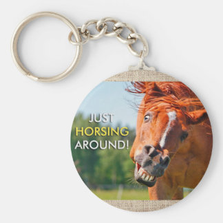 Just Horsing Around Horse Photograph Keychain