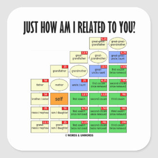 Just How Am I Related To You Genealogy Stickers