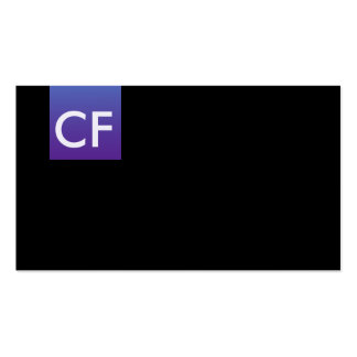 Just initials in front purple business card