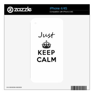 Just Keep Calm Black Text iPhone 4 Decals