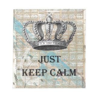 Just Keep Calm Vintage Abstract Art Grunge Design Notepad