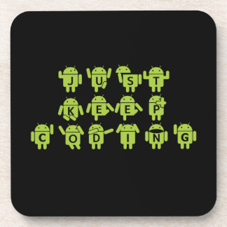 Just Keep Coding (Android Bug Droid Grey Bckgrnd) Beverage Coasters