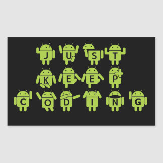 Just Keep Coding (Android Bug Droid Grey Bckgrnd) Rectangular Sticker