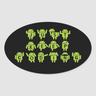 Just Keep Coding (Android Bug Droid Grey Bckgrnd) Sticker