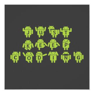 Just Keep Coding (Bug Droid Grey Bckgrnd Birthday) Card