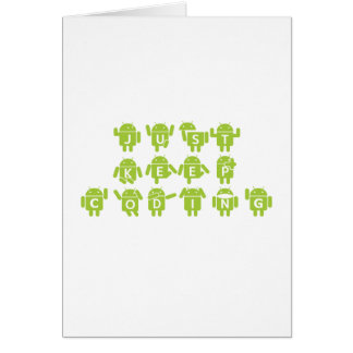 Just Keep Coding (Bug Droid Letters Font) Card