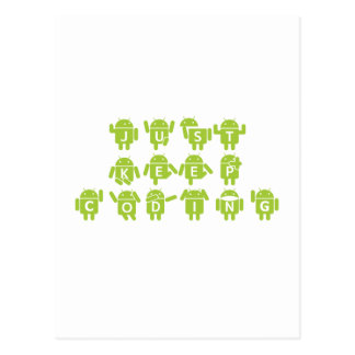 Just Keep Coding (Bug Droid Letters Font) Postcard