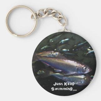 Just Keep Swimming.... Basic Round Button Keychain