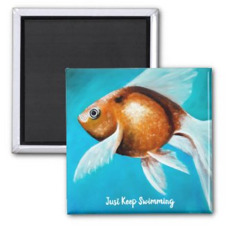 Just Keep Swimming Goldfish Painting Magnet