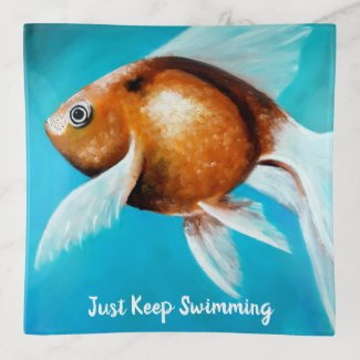 Just Keep Swimming Goldfish Painting Trinket Tray