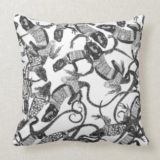 just lizards black white throw pillow