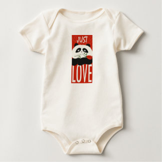 Just Love Panda Cute Cartoon Flower Red Funny Chic Baby Bodysuit