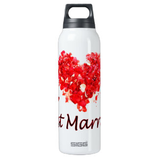 """Just Married"" 16 Oz Insulated SIGG Thermos Water Bottle"