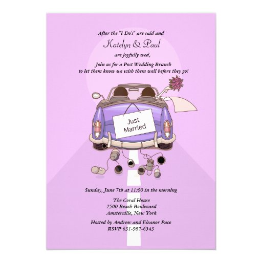 Just Married 2 Post Wedding Brunch Invitation