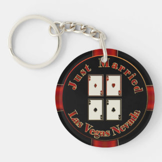 Just Married 4 Aces Las Vegas Nevada Poker Chip Keychain