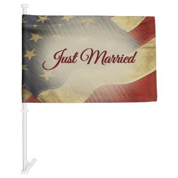 Just Married American Flag for Car