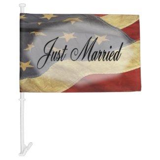Just Married American Flag Wedding Car Flag
